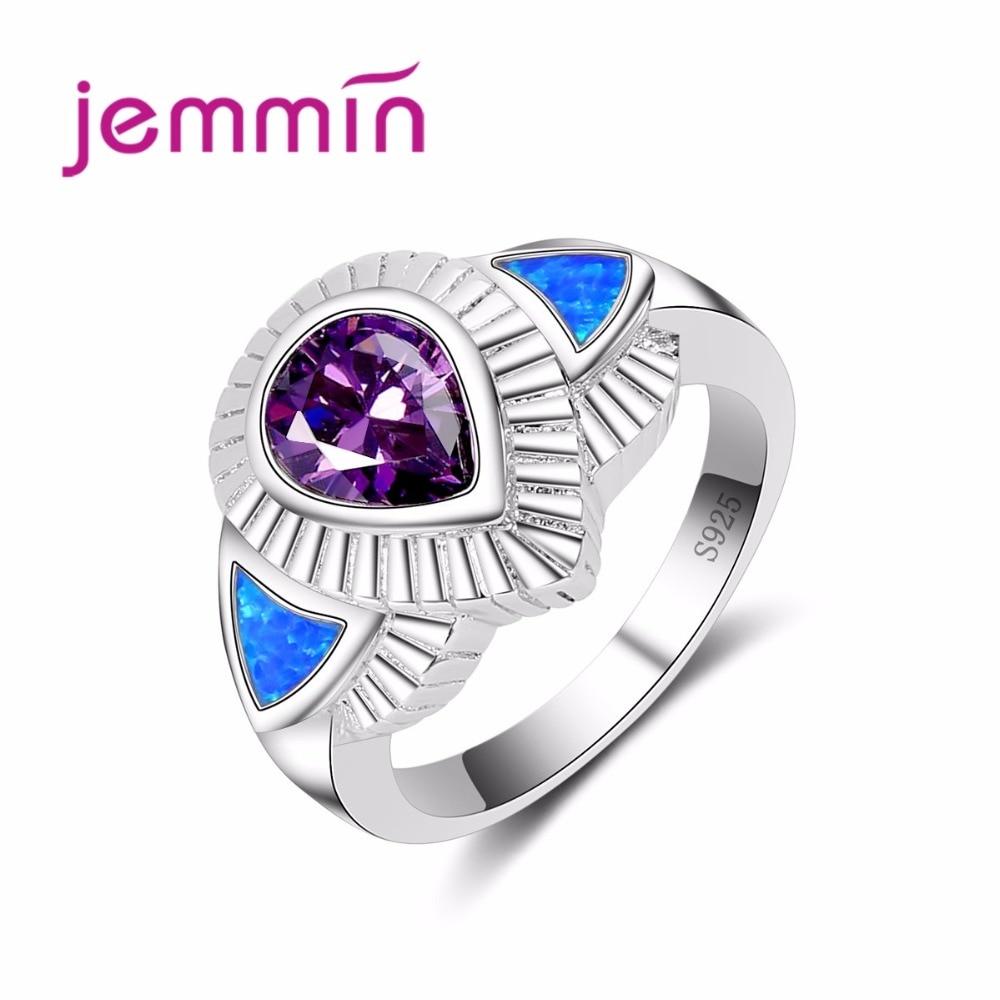 925 Sterling Silver Blue Fire Opal Finger RingLuxury New Purple Water Drop Gemstone Wedding Engagement Rings For Women