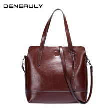 2019 Big Brand Genuine Leather Bags Women Soft Real Leather Crossbody Bag High Capacity Tote Bags Oil Wax Luxury Top-handle Bag