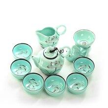 9 шт. фарфоровый чайный сервиз, чашка с теплоизоляцией, китайский керамический чайник с фильтром Celadon, роскошный чайный набор, чайная чашка, блюдце, наборы, B009