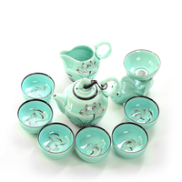 9 pcs Porcelain tea set cup heat insulated chinese ceramic teapot with filter Celadon luxury teaset tea cup saucer sets B009
