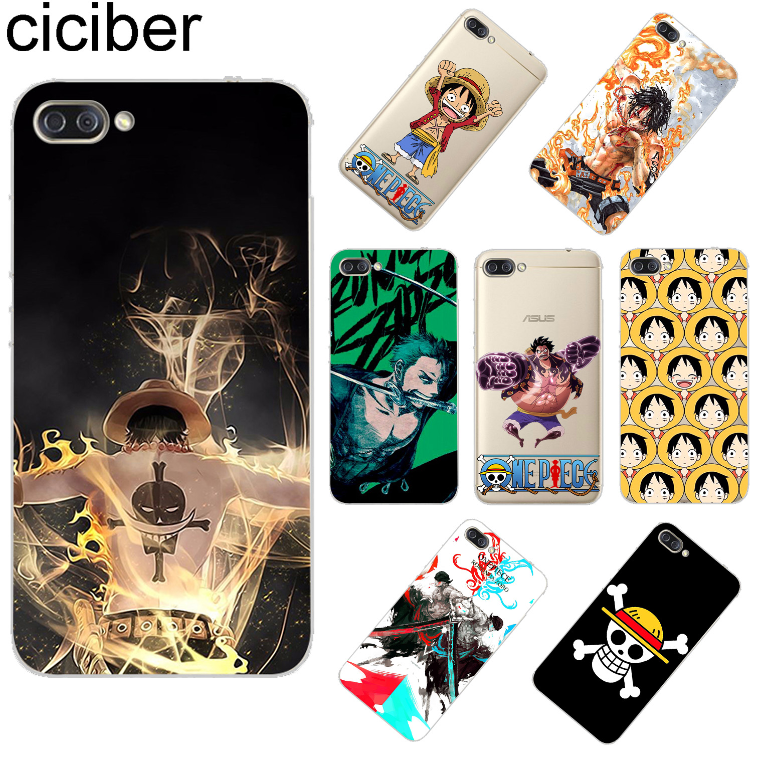 ciciber For <font><b>ASUS</b></font> <font><b>ZenFone</b></font> 5 <font><b>4</b></font> 3 3S Max Plus Laser Deluxe <font><b>Selfie</b></font> Pro Z Q Lite Soft TPU Japanese Anime Luffy One Piece <font><b>Phone</b></font> <font><b>Cases</b></font> image