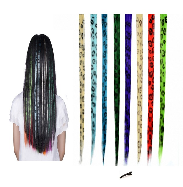 Feshfen 8 Pcs Leopard Print Straight Clip On In Hair Extensions