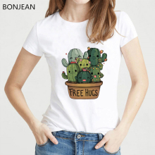 New Summer Fashion T Shirt women Cute Cactus Free Hugs Print T-Shirt funny Casual Tops Tees Hipster cool Short Sleeve tshirt