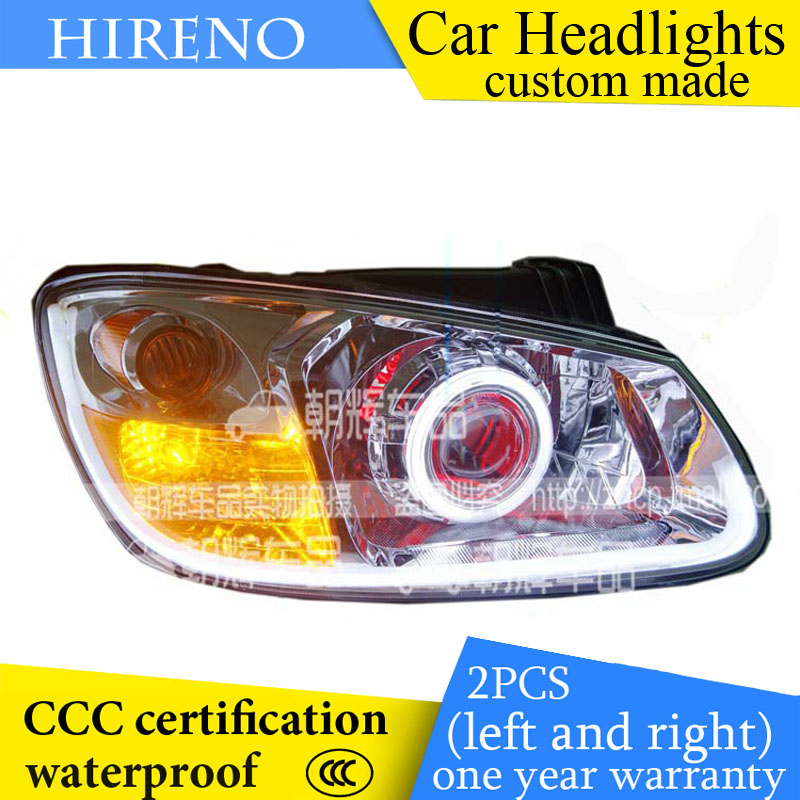 Hireno custom Modified Headlamp for KIA Cerato 2006-09 Headlight Assembly Car styling Angel Lens Beam HID Xenon 2 pcs hireno headlamp for cadillac xt5 2016 2018 headlight headlight assembly led drl angel lens double beam hid xenon 2pcs