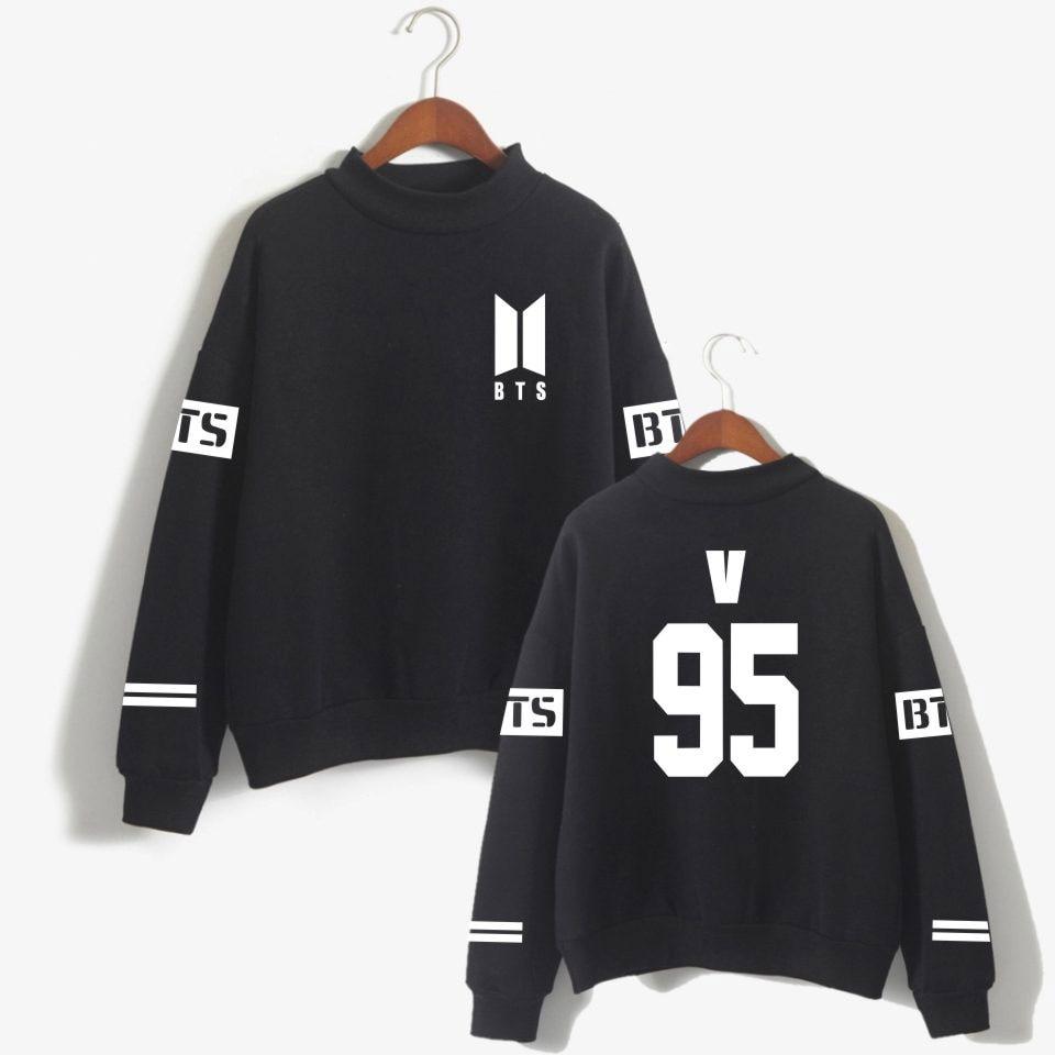 BTS Love Yourself kpop Capless Sweatshirts Bangtan boy outwear Hip-Hop Women and men Turtleneck Fashion bts K-pop Clothes