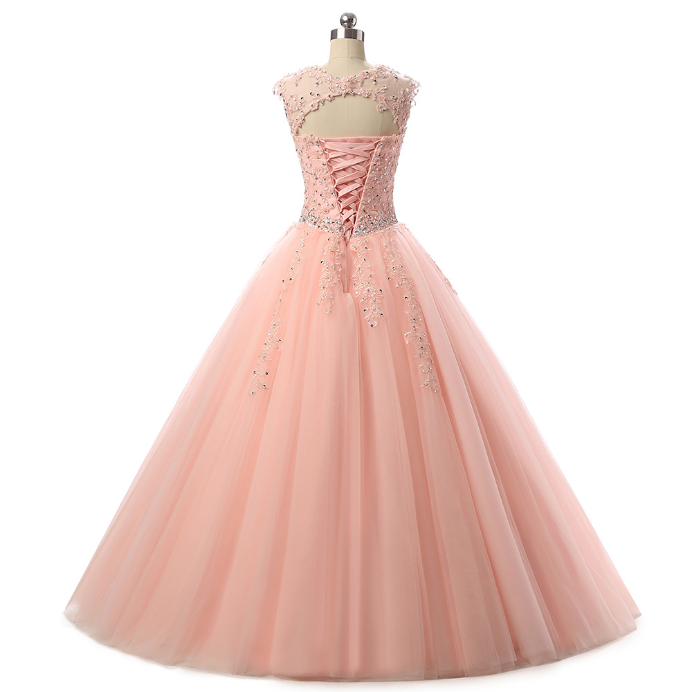 Cap Sleeves Scoop Aqua Scarlet Blush Lace Ball Gown Prom Dress ...