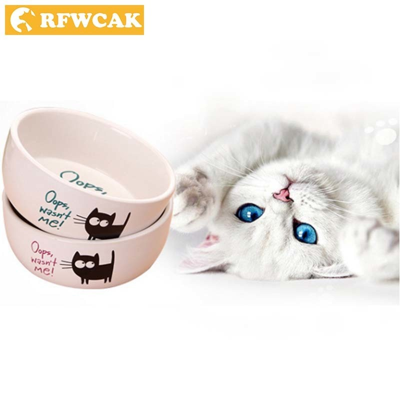 RFWCAK Good Quality Ceramics Pocket-portable Cartoon Black Cat Pattern Circle Drinking And Eating Heat Resistant Pet Feed Bowls