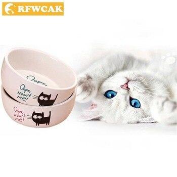 RFWCAK, cerámica de buena calidad, de bolsillo, portátil, dibujo animado, Gato Negro, patrón circular, bebiendo y comiendo, cuencos de alimentación para mascotas resistentes al calor