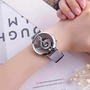 Stainless Steel Musical symbol Ladies Wristwatches Fashionable Hardness Analog Gift Women's Quartz Watches Hand clock women #D