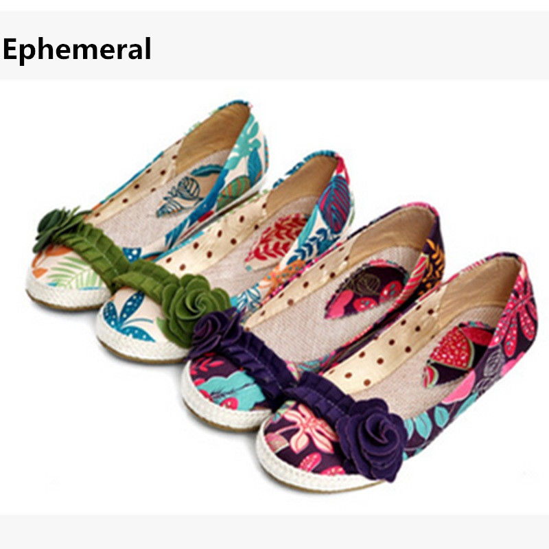 Ladies Plus size(4-12) Sweet Applique Floral Leaves Cloth Flats Single Shoes Round toe women summer style girls Purple Green new 2017 spring summer women shoes pointed toe high quality brand fashion womens flats ladies plus size 41 sweet flock t179