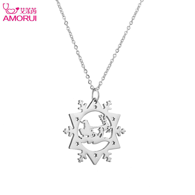 Fashion Lovely Santa Claus Deer snowflake Necklace women jewelry Charm chain Collares Mujer Friendship Pendant Christmas Gifts ...