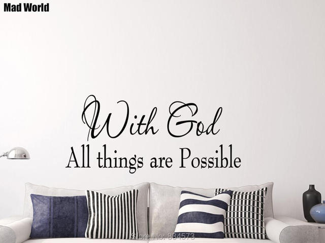 mad world with god all things are possible bible wall art stickers