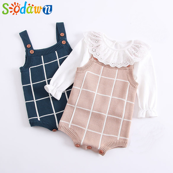 Sodawn 2018 Autumn Winter New Products Knitted Cartoon Jacquard Conjoined Baby Out Suit Sleeveless Cardigan Baby Jumpsuit