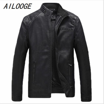 AILOOGE Autumn Winter Mens PU Leather Jacket Stand Collar Jacket Men Zipper Style Motor Vehicle Clothing Large Size L-4XL HZ135