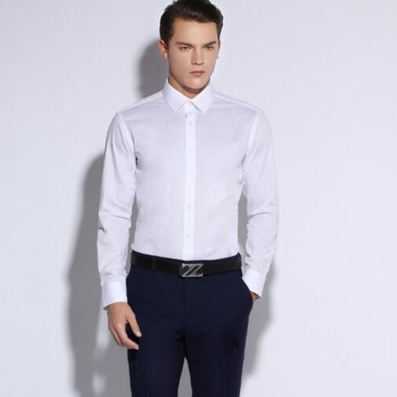 41-1 New Mens Slim Fit Solid Color White Long Sleeve Dress Shirt Square Collar No-Pocket Designed Business Casual Men Shirts