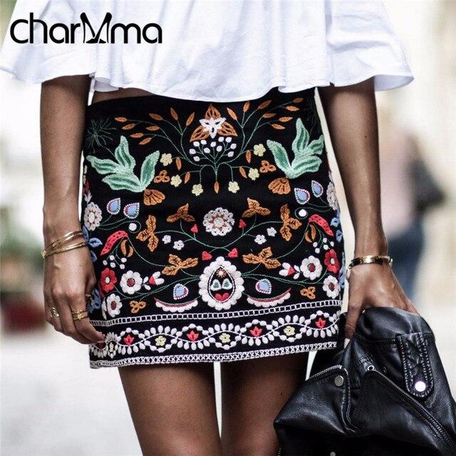 CharMma 2017 Новая Весна Vintage Этнические Женщины Юбки Короткие Черные Цветочные Вышивка Юбка-Карандаш Высокая Талия Boho Feminino Bodycon