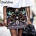 Charmma 2017 nova primavera vintage ethnic mulheres saias curtas preto bordado floral saia lápis de cintura alta boho feminino bodycon