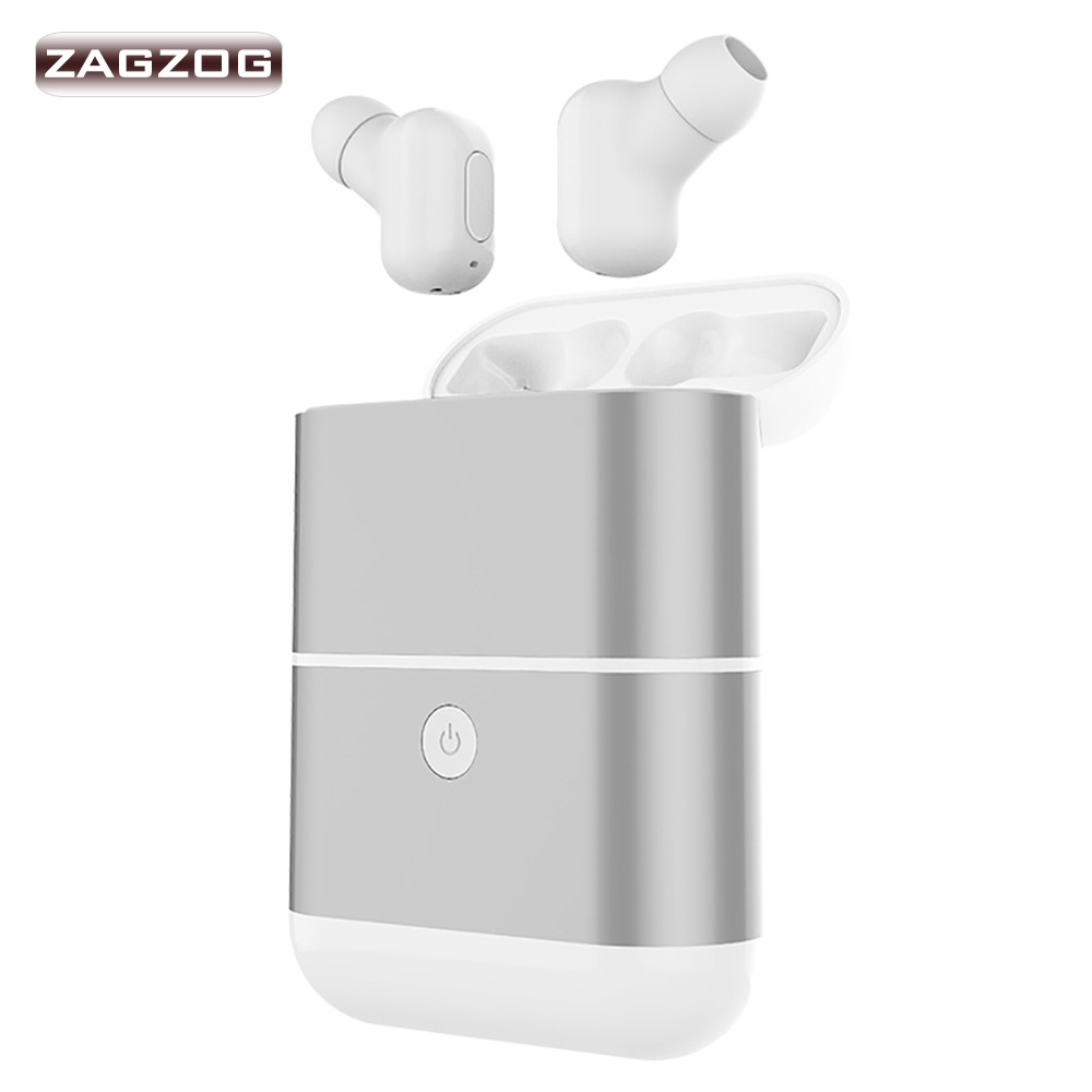 Zagzog Wireless Bluetooth Headsets In-Ear Sport Music Earphones Stereo Handsfree with Charging Box and Power Bank TWS(X2) portable bluetooth wireless headset handsfree earphones in ear music phone call battery usb charging