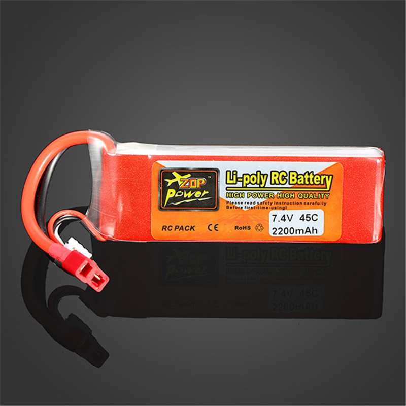 ZOP Power <font><b>7.4V</b></font> <font><b>2200mAh</b></font> 2S 45C Lipo <font><b>Battery</b></font> T plug High Power High Quality Rechargeable For drone remote control RC car image