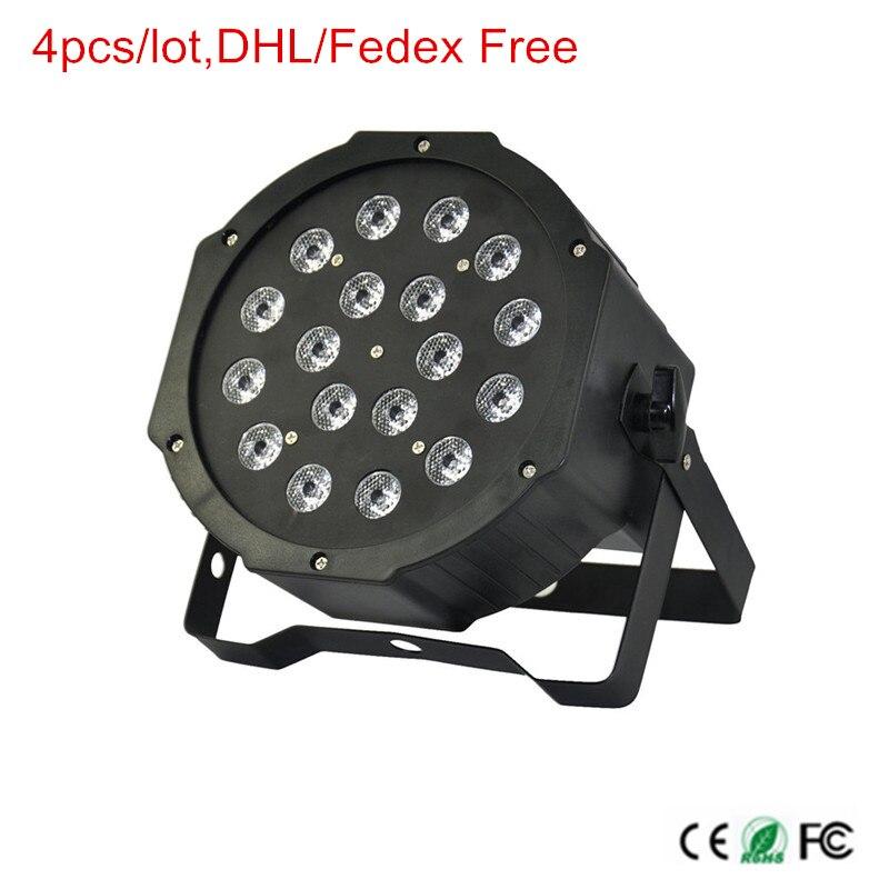 LED Par 18leds * 3W RGB Stage Light DJ Disco Stage Light Dancing Lamp EU/US Plug DMX512 LED light AC85 265V 4pcs/lot,DHL Free