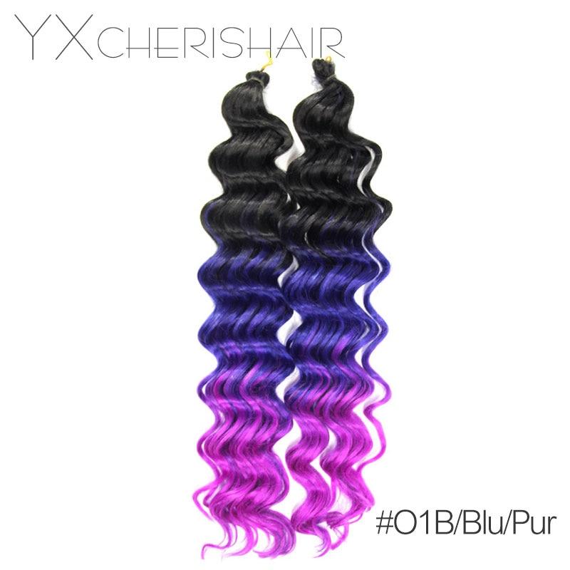 "YXCHERISHAIR 2017 Christmas 20"" 80G Crochet Braids Deep Wave Bundles Weave Synthetic Hair Extensions Natural Wavy Hair Styles"