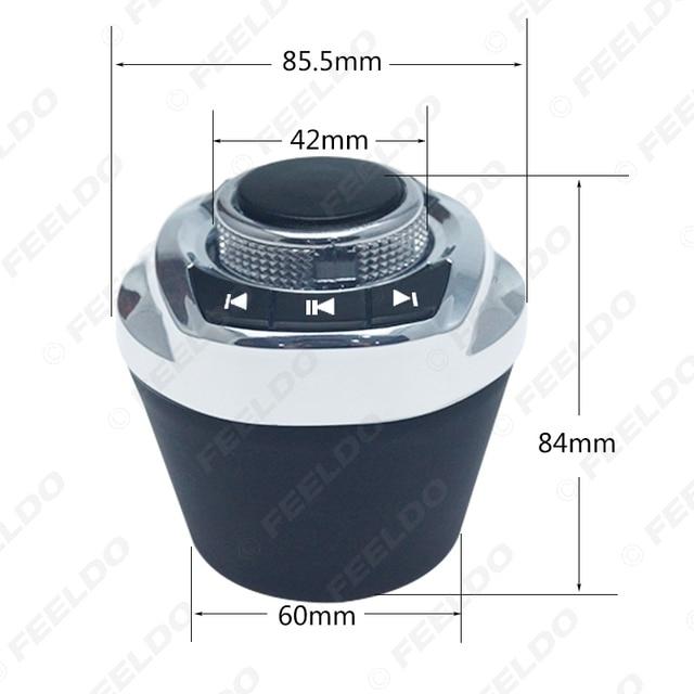 Feeldo nova forma de copo com luz led 8-funções chaves botão de controle do volante do carro sem fio para o jogador de navegação android do carro 2