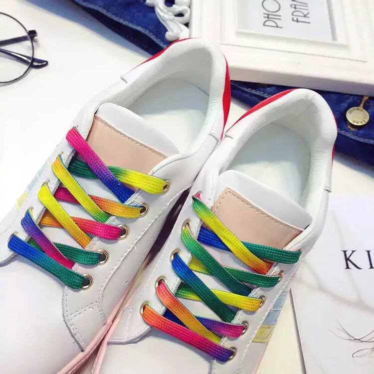 2 Pair Colorful Laces Rainbow Gradient Print Sneakers Canvas Shoe Lace Shoes Casual Chromatic Colour Shoelaces 80CM/100CM/120CM