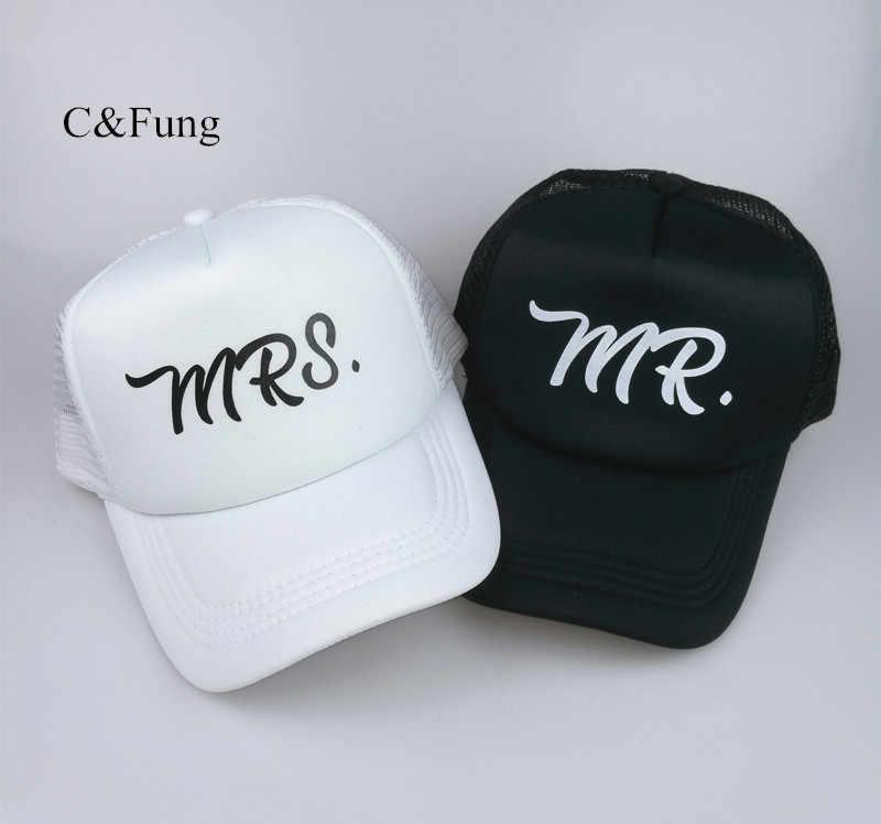 a1959c64b8569 C Fung design Mr and Mrs Trucker hats Mr. mesh baseball hat Bridal party caps  Bride