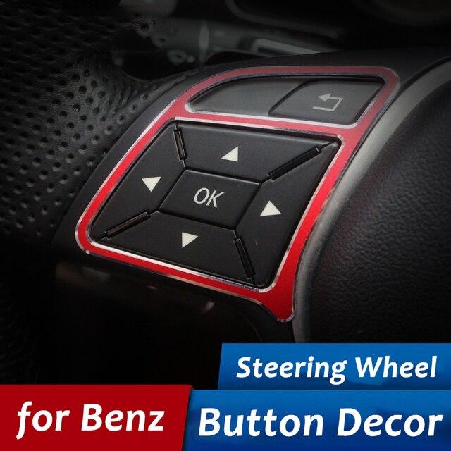 2pcs for mercedes benz car steering wheel button decoration trim cover car stickers a b e class e260l