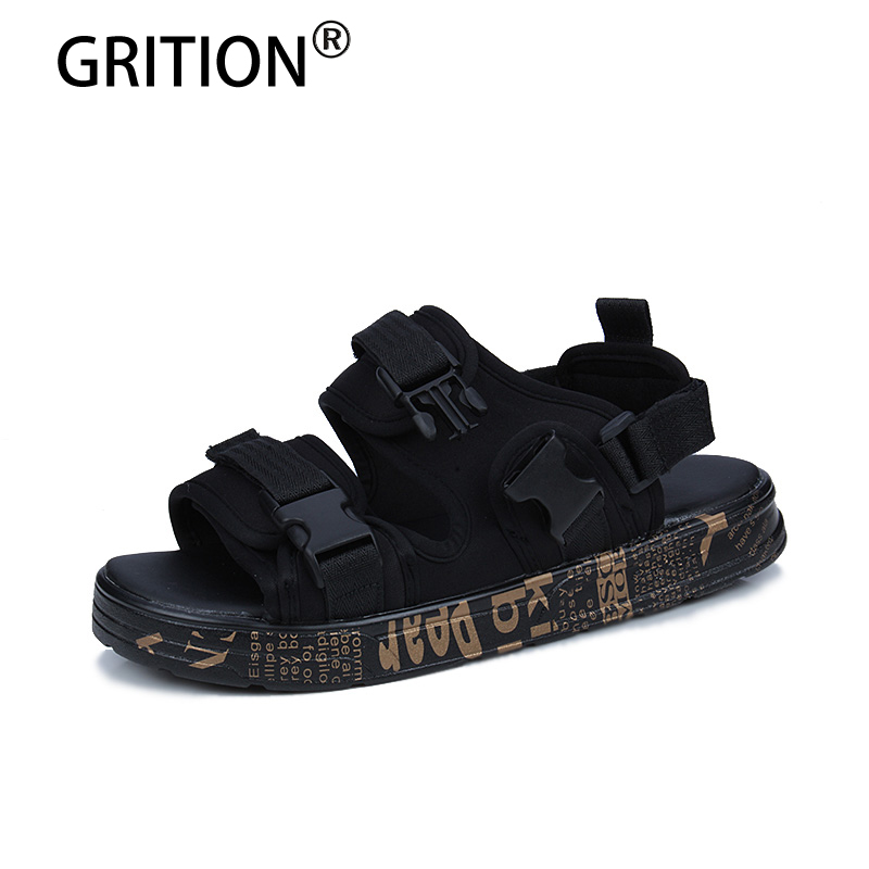 GRITION Fashion Men Outdoor Summer Sandals Breathable Summer Shoes Walking Shoes Lazy Shoes Walking Beach Sandals Size 39-44