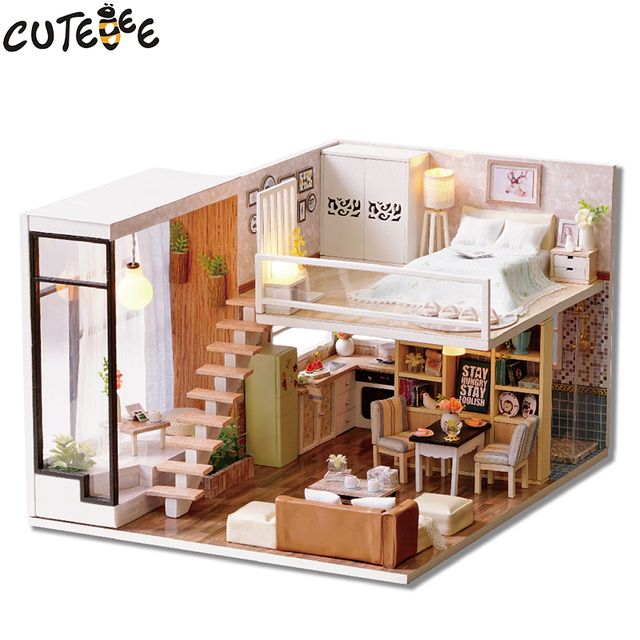 CUTEBEE Doll House Miniature DIY Dollhouse With Furnitures Wooden House  Waiting Time Toys For Children Birthday