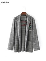VOGUEIN New Womens Checks Plaids Floral Beaded Embroidered Coat Jacket Blazer Wholesale