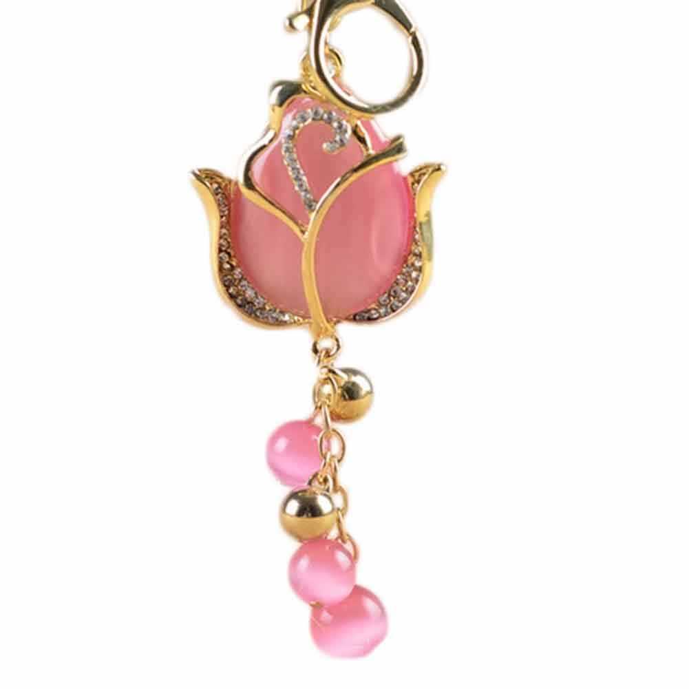 Recentes 1 Peça Charme Chaveiro de Cristal Chaveiro 95x45mm Strass Saco Grande 3D Crystal Rose Flor Pingente de Opala Corrente chave