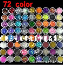 72pcs/lot Bestselling Mix 72pots glitter powder HOLOGRAPHIC GLITTER POTS FINE HIGH QUALITY HUGE RANGE OF COLOURS NAIL ART CRAFT
