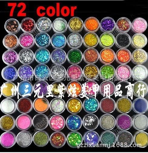 72pcs/lot Bestselling Mix 72pots glitter powder HOLOGRAPHIC GLITTER POTS FINE HIGH QUALITY HUGE RANGE OF COLOURS NAIL ART CRAFT