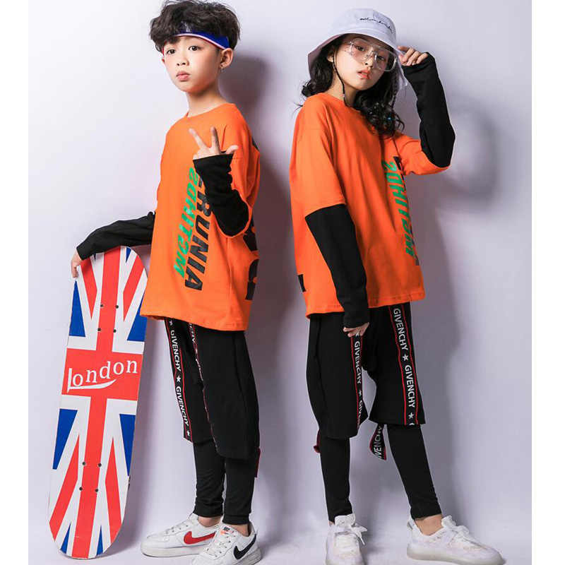 802905c3e ... Girls Orange Tops Pants Jazz Dancing Costumes Clothes Kids Ballroom Hip  Hop Party Stage wear Competitions ...