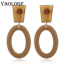 YAOLOGE Fashion Acrylic Earring Hollow Oval Round Pendant Colorful Earrings Geometry Bohemian Jewelry For Women Accessories Gift