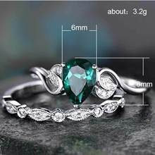 Emerald ring diamond rings Topaz Crystal Rose Gold Ring Water drop set or two sets Valentine's Day Indian Jewelry Men's B2686 цена 2017