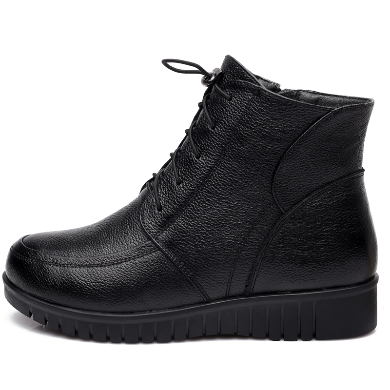 Image 4 - GKTINOO Winter Women Shoes Woman Genuine Leather Flat Ankle Boots Female Lace up Warm Wool Snow Boots Women Boots-in Ankle Boots from Shoes