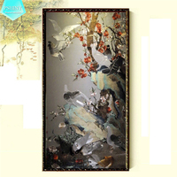 PSHINY 5D DIY Diamond Embroidery Bird And Flower Landscape Pictures Full Mosaic Kit Round Or Square
