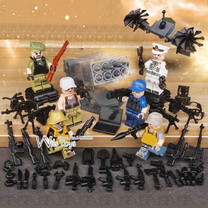 6pcs Wolf Warriors MILITARY Army World War SWAT Soldiers Weapon Special Forces Navy Seals Building Blocks Figures Toys for Boys xinlexin 317p 4in1 military boys blocks soldier war weapon cannon dog bricks building blocks sets swat classic toys for children