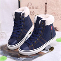 Solid color winter Breathable warm denim snow boots Women ankle boots 2016 fashion