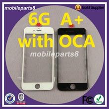 Лучшие 10 шт Бесплатная доставка Стекло с рамкой ОСА для iPhone 6 4.7 «спереди Экран внешний Стекло с рамкой и ОСА черный или белый