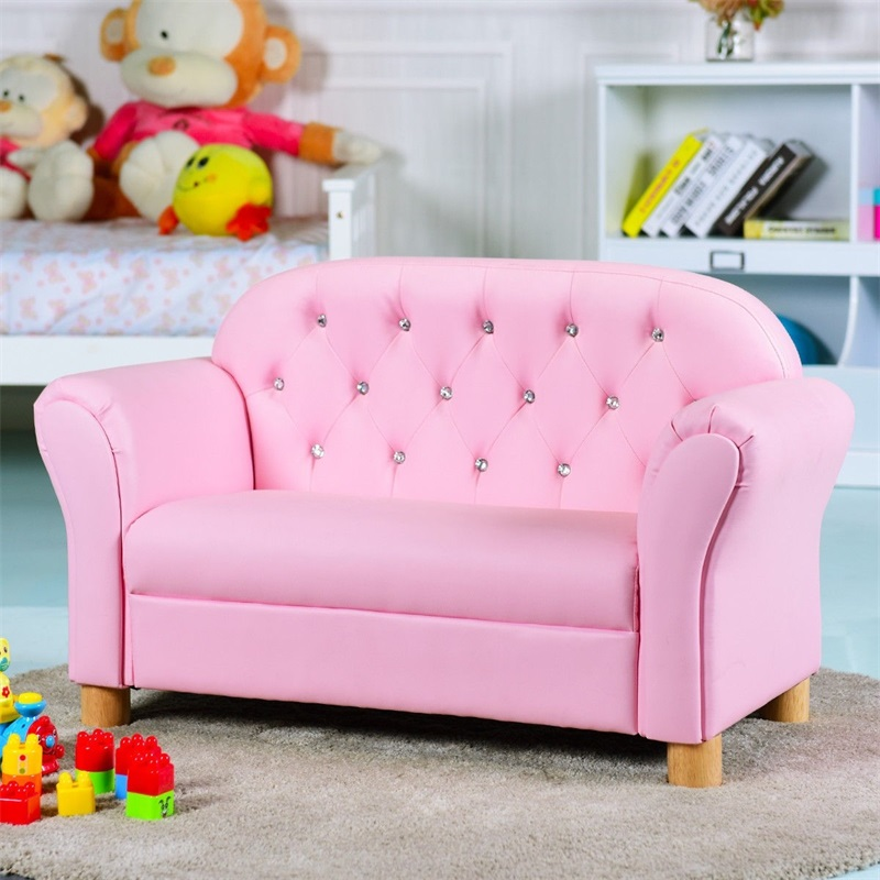 Kids Sofa Princess Armrest Chair Loveseat Strong Wood Frame Lightweight And Comfortable Single Sofa HW58811