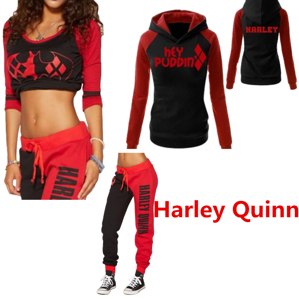 e3b105521edc32 Suicide Squad Harley Quinn Ladies Cosplay Costumes Hoodies Sweatshirts T- shirt Top Joggers Trousers Sport