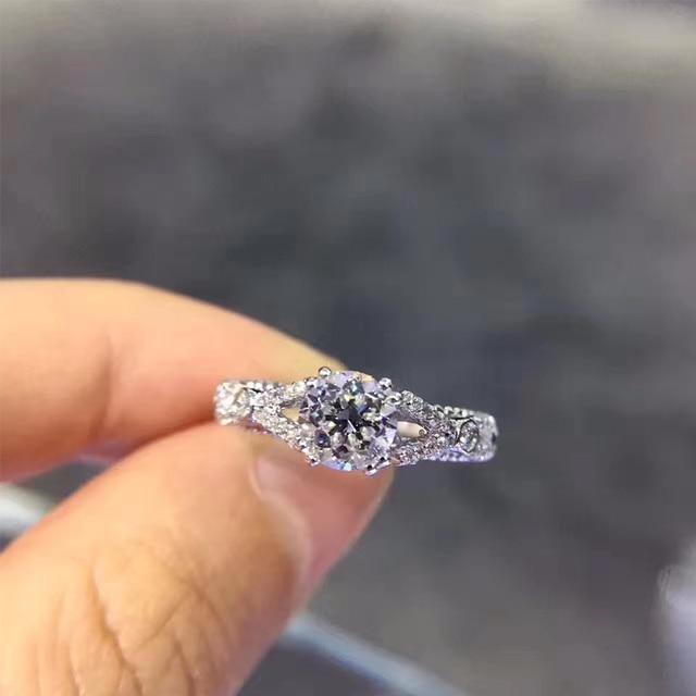 ANI 18K White Gold (AU750) Women Wedding Ring IGI Certified H/VVS2 1 CT Round Cut Real Diamond Luxury Ring for Women Engagement