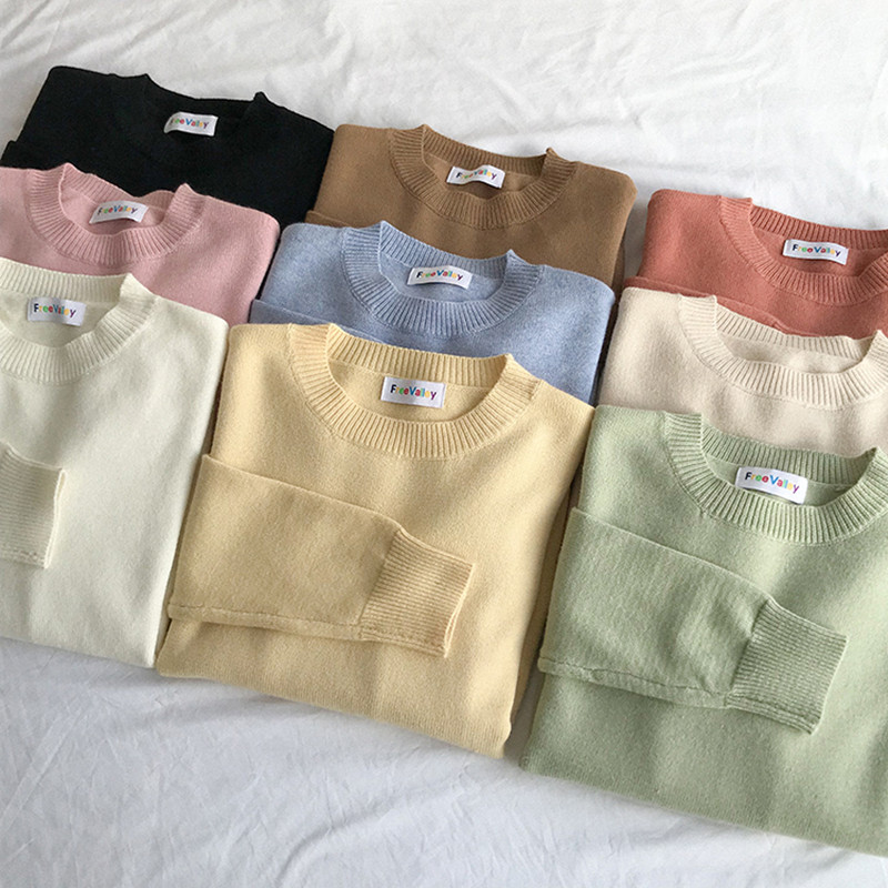 9 Colors 2018 Autumn And Winter Breif Style Loose Solid Color Sweaters Womens Sweaters And Pullovers Womens  (F1322)