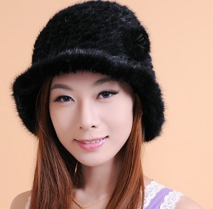 100% Real Mink Hair Womens Weaved Cap Winter Thickening Crochet Hats Womens Winter Fur Hats With Formal Dress CP025