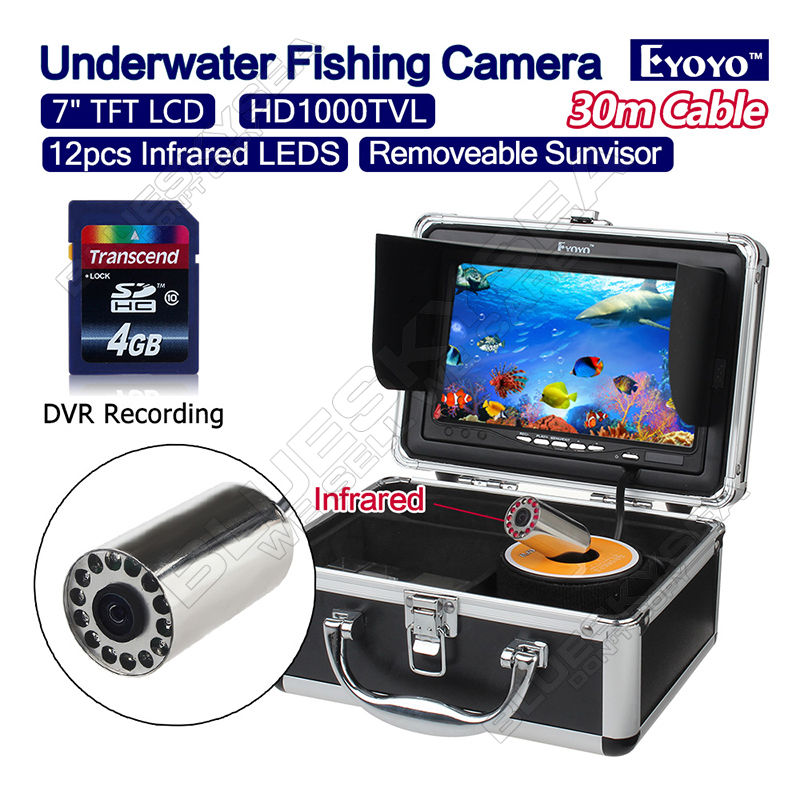 Free shipping Eyoyo 30M 7 1000TVL Infrared Fishing font b Camera b font Fish Finder DVR