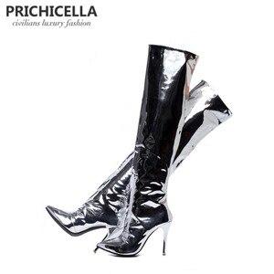 Image 2 - PRICHICELLA Stilvolle Mädchen silber spiegel leder spitz high heel overknee stiefel glänzend sexy große booties